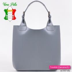 Włoska skórzana szara torba shopper
