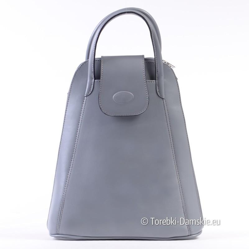 97a57370c2829 Szary plecak damski ze skóry włoskiej
