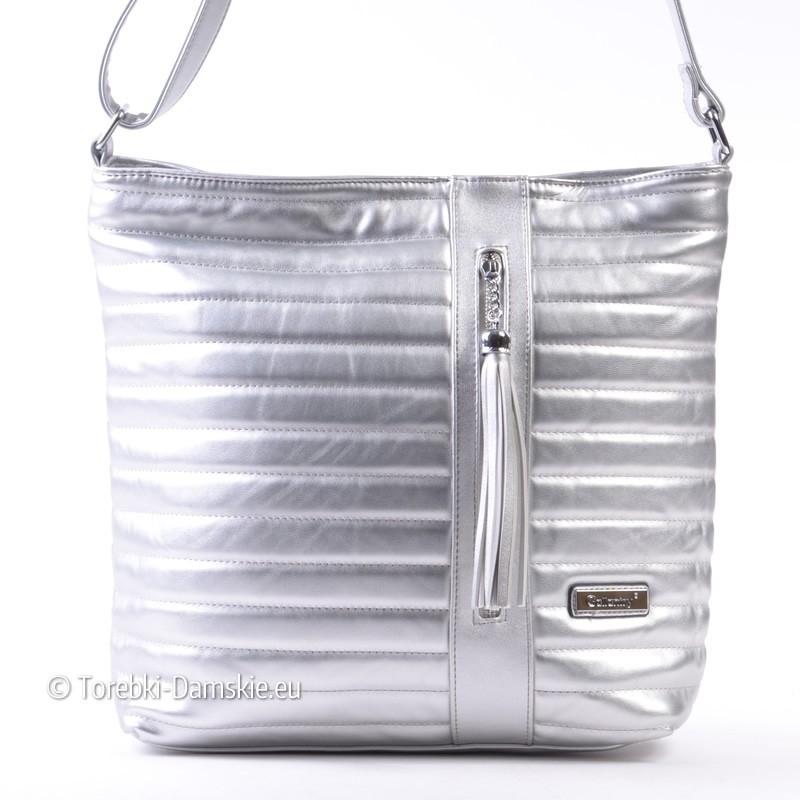 c8e71e9251994 Pikowana srebrna prostokątna torebka listonoszka