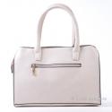 Kuferek beżowo - biało - czarny - zgrabna i modna torebka damska