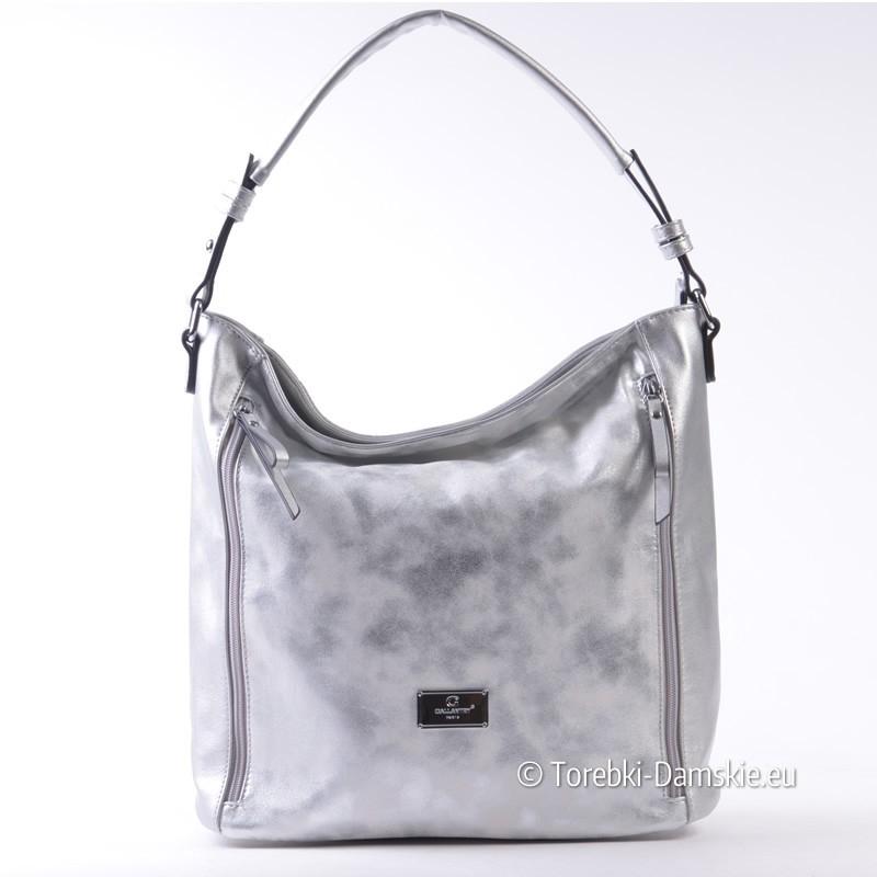 ca31dad613efe Srebrna pojemna torebka na ramię - worek z kieszeniami