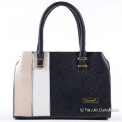 Czarno - beżowo - biała torebka damska średniej wielkości