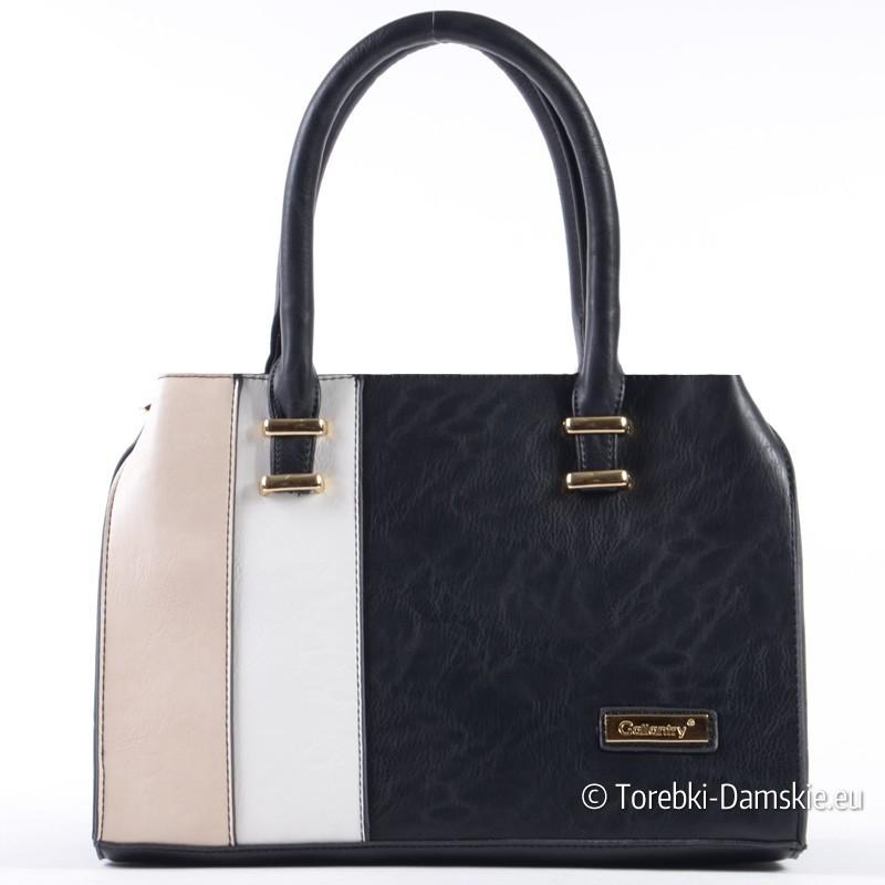 Czarno - beżowo - biała torebka - średniej wielkości kuferek