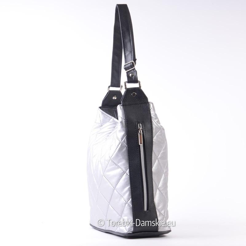 b9386c566fa2f Torba srebrno - czarna na ramię z suwakami na bokach