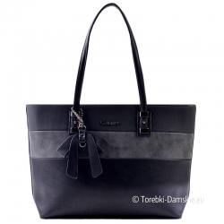 Duża czarna damska miejska torba na ramię z szarą wstawką