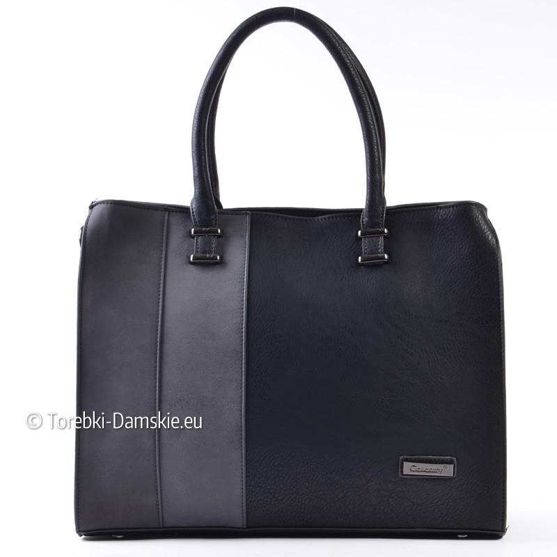 Czarna teczka damska - kuferek z szarymi pasami