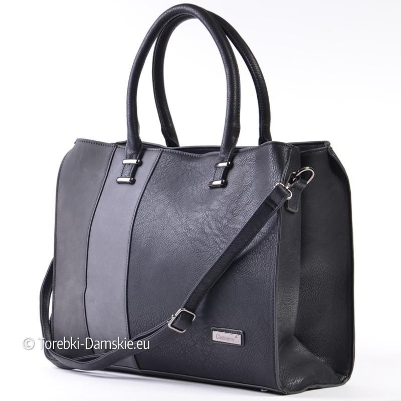 4d12d52a0444d Czarna teczka damska - kuferek z szarymi pasami  W komplecie z tym  kuferkiem A4 - pasek długi ...