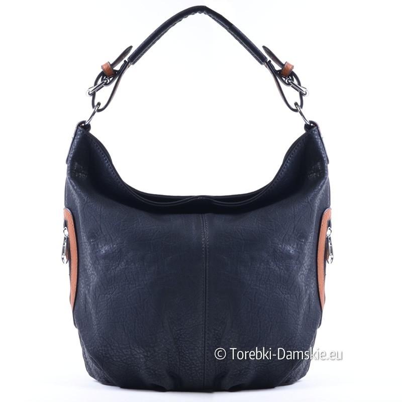 Czarna torebka z elementami jasnobrązowymi - worek średniej wielkości