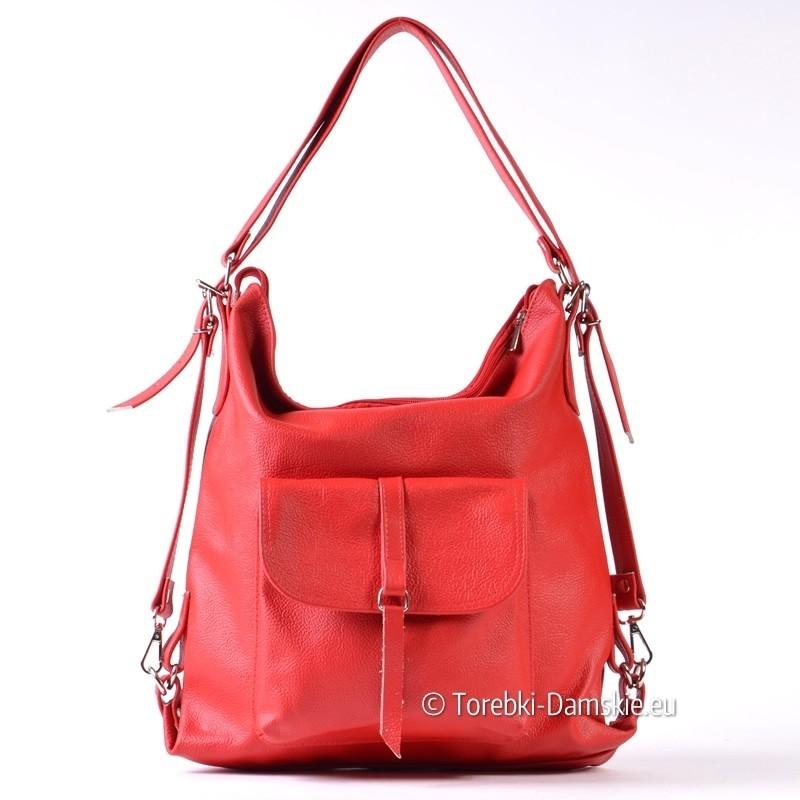 Torebka czerwona 3 w 1: listonoszka, plecak, torba na ramię