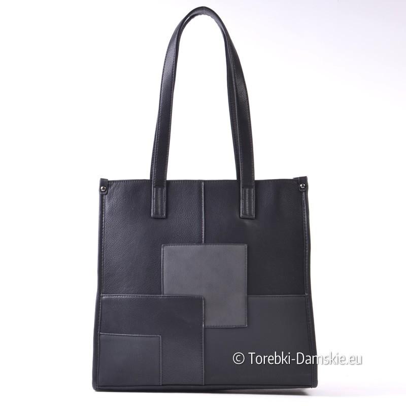 6de749fc2181f Prostokątna torba shopper na ramię czarna ...