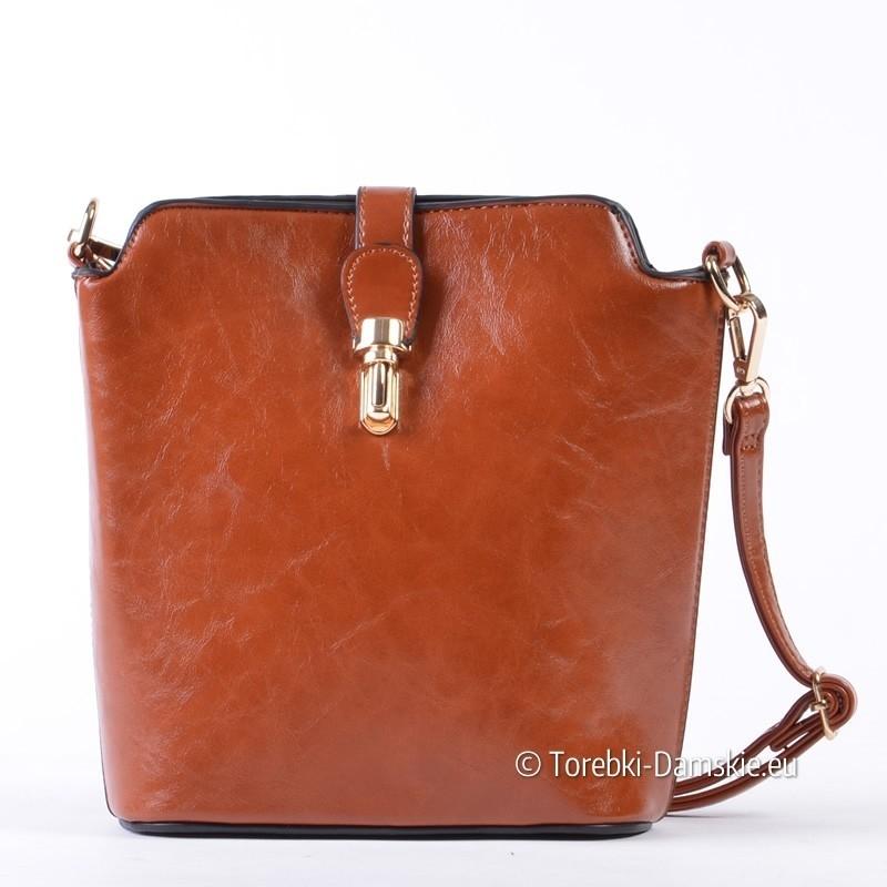 Karmelowa jasnobrązowa mała torebka przewieszka listonoszka