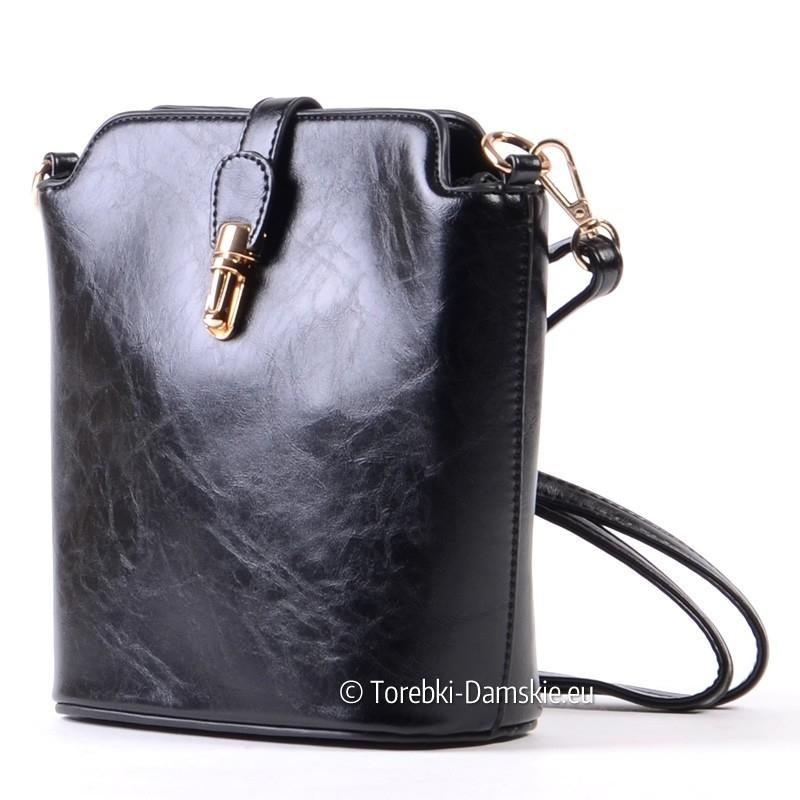 23ab4cc0c Czarna torebka na długim pasku - mała elegancka przewieszka ...