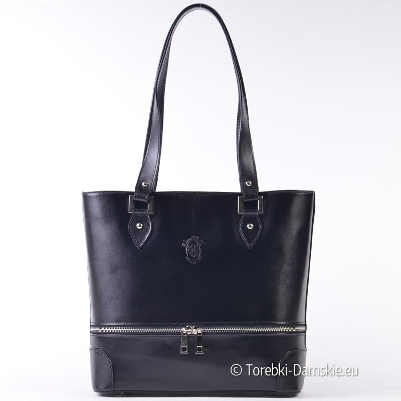 Skórzana czarna torba z suwakiem ozdobnym z przodu
