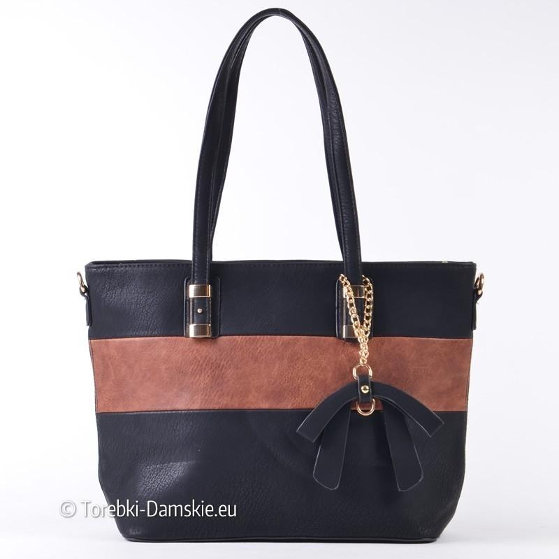 fc36714dd6866 Czarno - brązowa pojemna torba damska na ramię