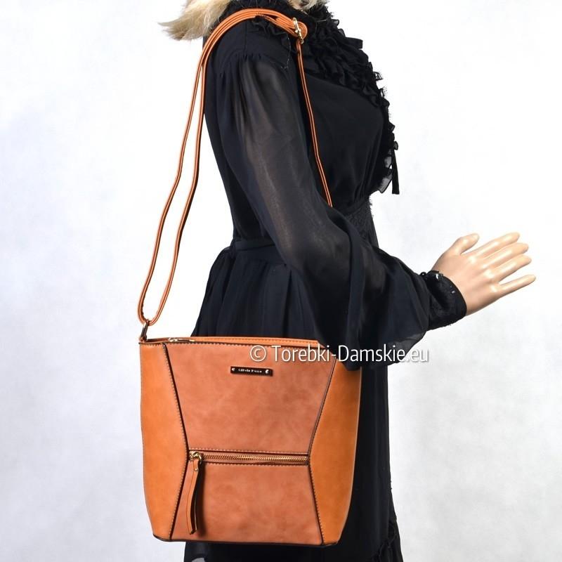 Karmelowa jasnobrązowa torebka damska listonoszka