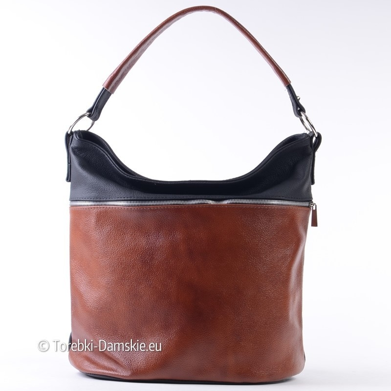 Duża skórzana brązowo - czarna torba damska - worek A4