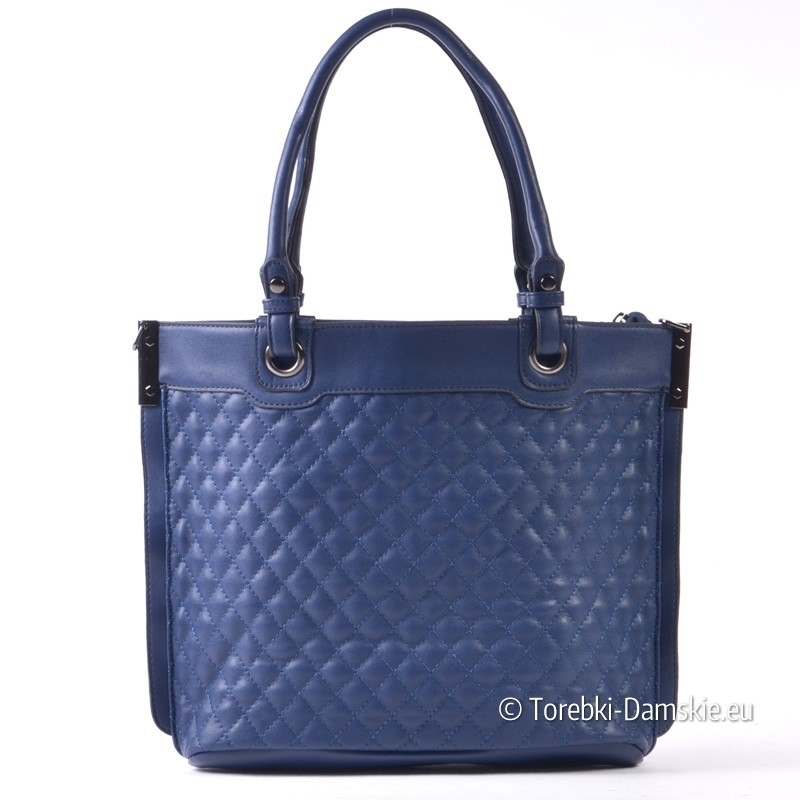 4255868ff6dff Pikowana granatowa pojemna torba damska shopper