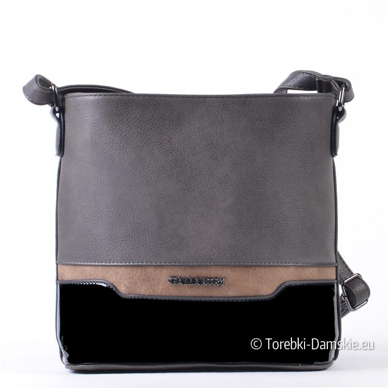Szaro - czarno - beżowa prostokątna torebka listonoszka