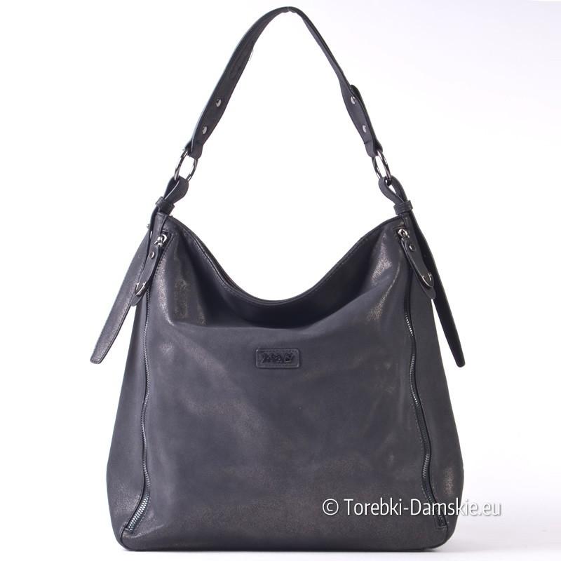 779e548d41b09 Duży czarny worek - pojemna torba damska na ramię lub do przewieszenia