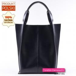 Czarna torba damska z gładkiej połyskującej skóry naturalnej