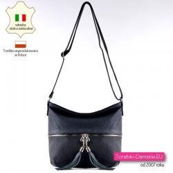 Skórzana czarna torebka z frędzlami elegancka listonoszka