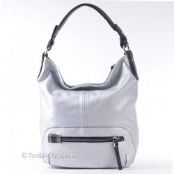 Srebrna pojemna duża torba na ramię i do przewieszenia