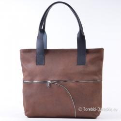 Brązowa torba shopper z zamszu naturalnego