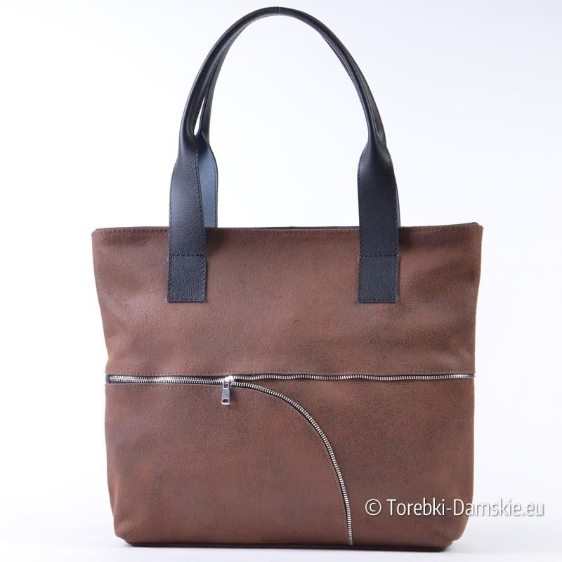 d41b420d89330 Brązowa torba shopper z zamszu naturalnego