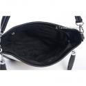 Biało - czarna torebka z frędzlami i kieszeniami z przodu