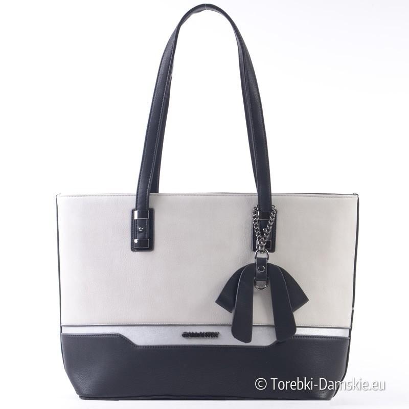 Duża szaro - czarno - srebrna damska torba na ramię