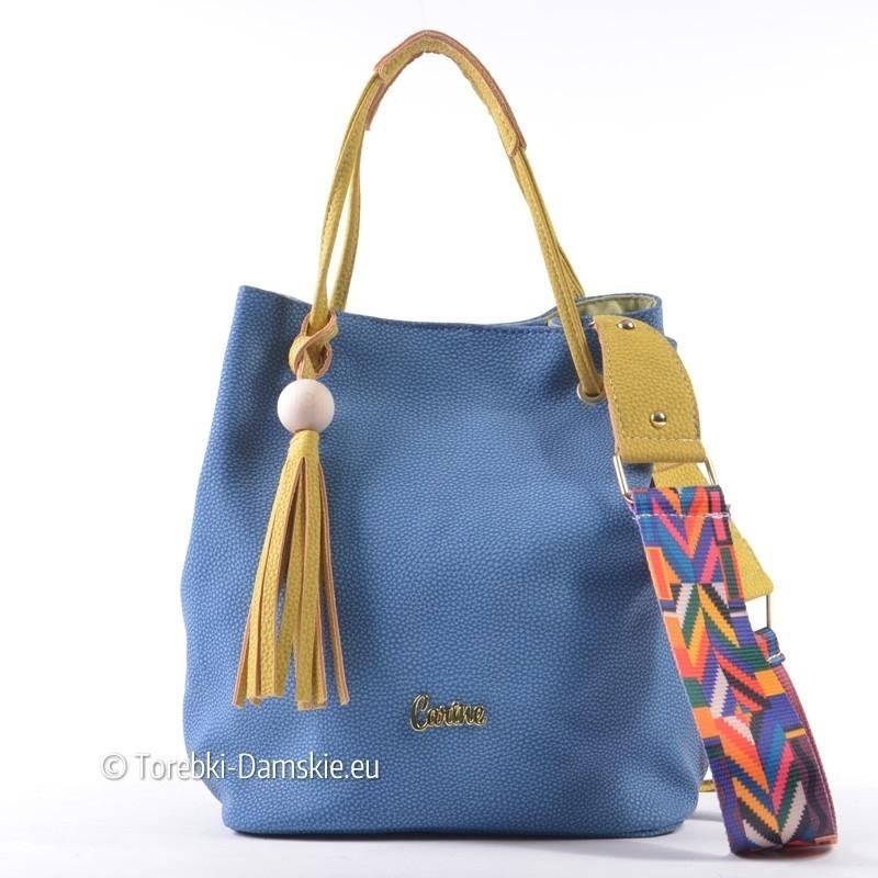 Niebieska torebka w stylu etno z azteckim paskiem
