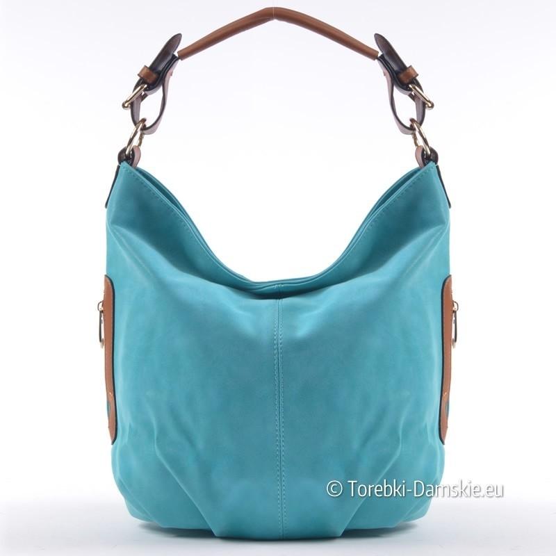 0e689b3ac0cf8 Turkusowa efektowna torebka damska na ramię lub do przewieszenia