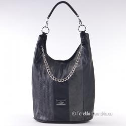 Czarna torebka z łańcuszkiem - duży model na ramię