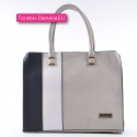 Szaro - czarno - biała torebka - kuferek - teczka damska