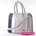 Szaro - czarno - biała torba A4 - pojemny kuferek