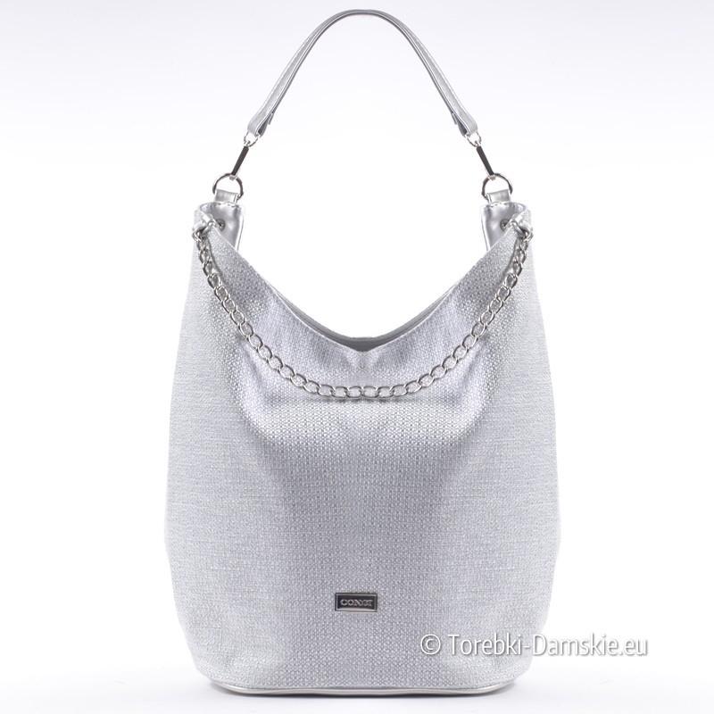 Popielato - srebrna polska torebka z tkaniny z ozdobnym łańcuszkiem