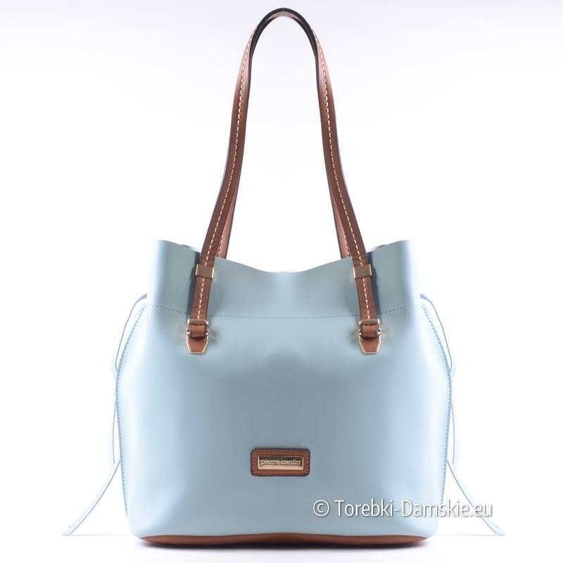 Błękitna torebka damska z brązowymi elementami Pierre Cardin