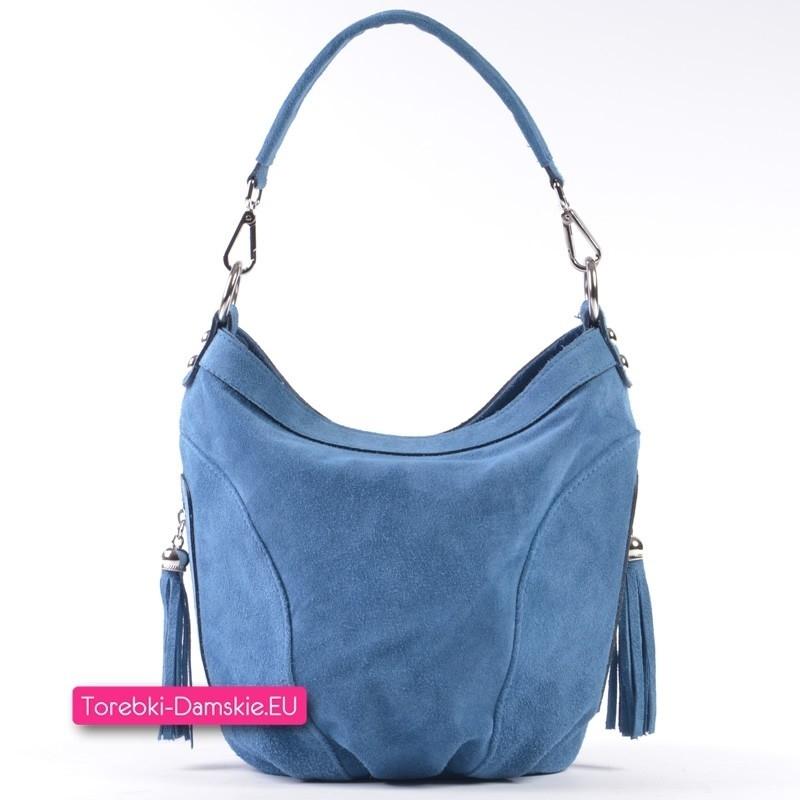 Zamszowa torebka w kolorze niebieski jeans z naturalnej skóry