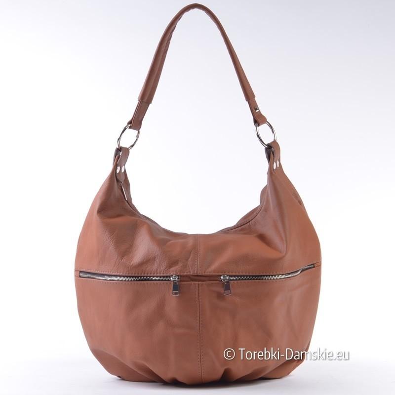 99163ddafd370 Torba ze skóry naturalnej w kolorze brązowym - ładny, koniakowy odcień