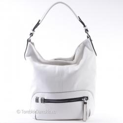 Duża biała torba na ramię z poziomym suwakiem