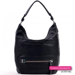 Czarna duża miejska torba - worek na ramię z poziomym suwakiem
