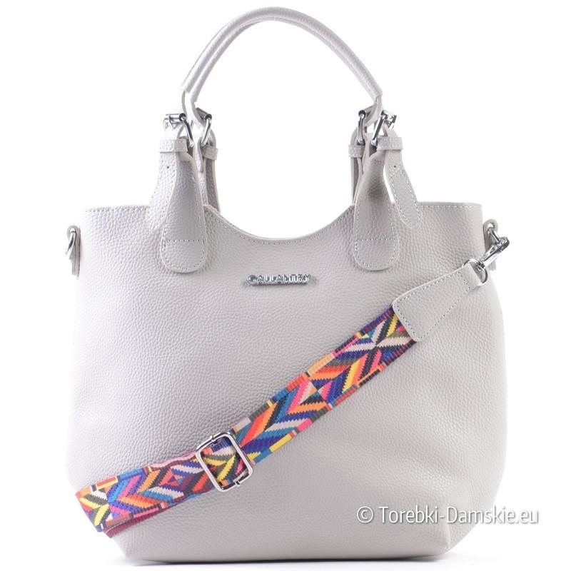 cb37df0ba6d5ae Szary shopperbag - pojemna torba, saszetka, kolorowy pasek aztecki