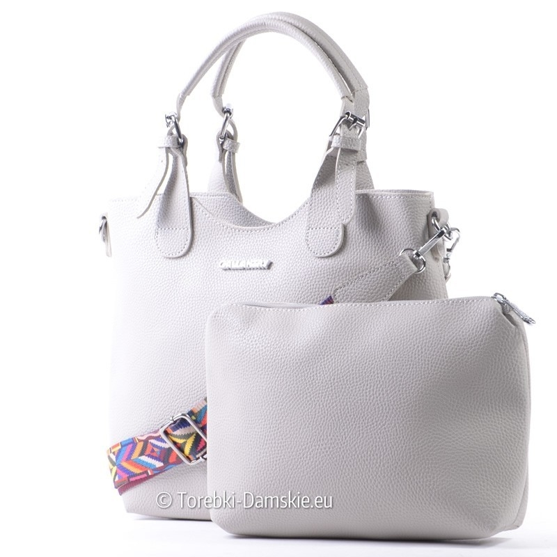 Szary shopperbag - pojemna torba, saszetka, kolorowy pasek aztecki