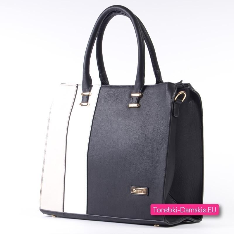 10dd51223e0f Damska torba A4 czarno - beżowo - biały stylowy kuferek