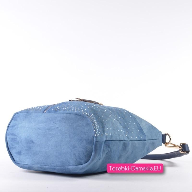 6c64a23c97930 Torba damska z jeansu ozdobne dżety i frędzel