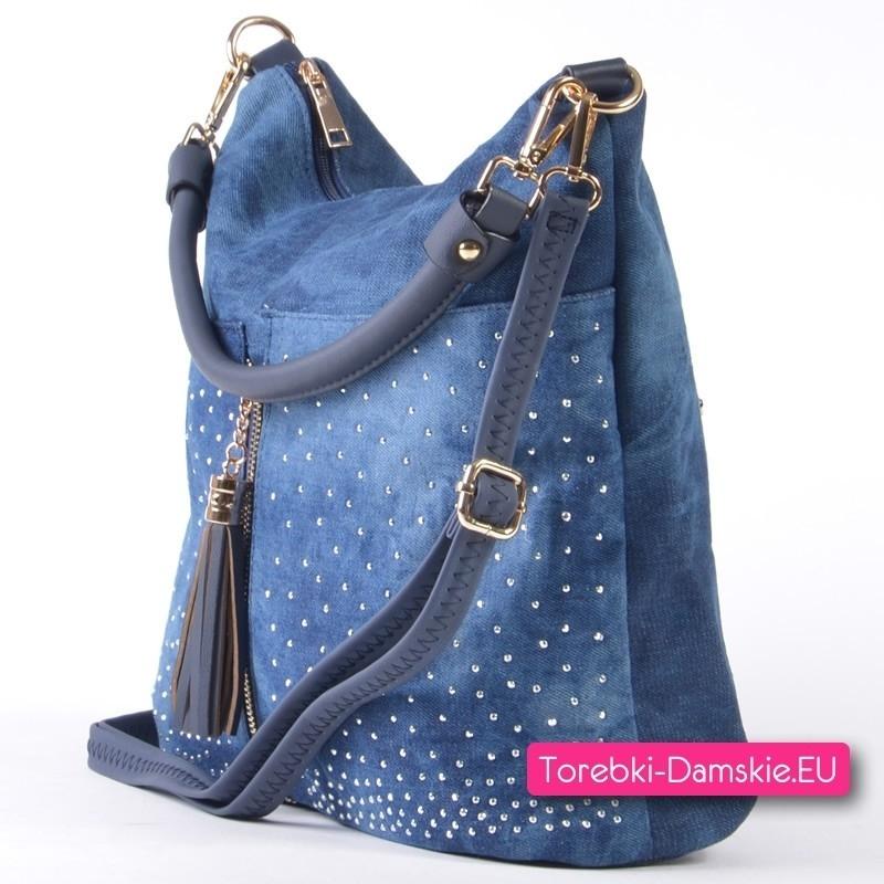 dc1e21300ab2e Niebieska jeansowa torebka damska z dżetami i złotym ozdobnym suwakiem
