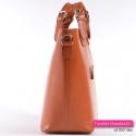 Włoska skórzana jasnobrązowa torba A4