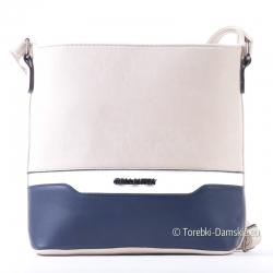 Beżowo - granatowo - biała prostokątna torebka crossbody