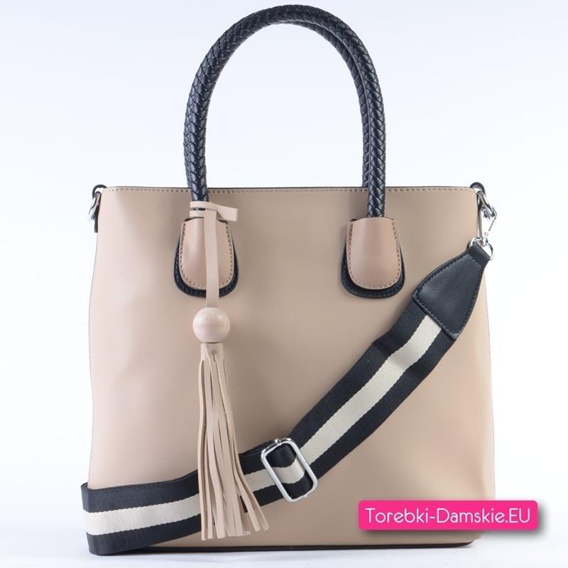 Beżowa torebka z czarnymi elementami - shopper A4