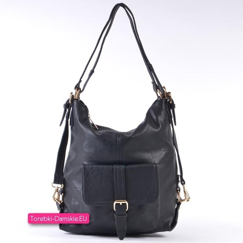 5a9726ebc9ce7 Czarna torebka trójfunkcyjna  plecak damski